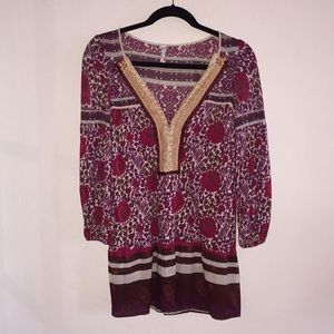 FREE PEOPLE Maroon Floral Tunic w pearl buttons XS